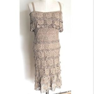 Boston Proper Crochet Dress Beige Sleeveless XS